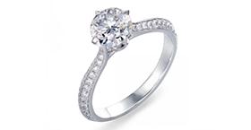 Pt900铂金订制钻石戒指 73309r
